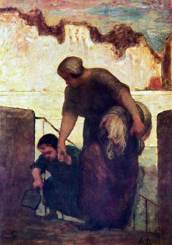 Description of the painting by Honore Daumier Laundress