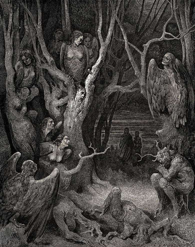 Description of the illustration by Gustave Dore The Forest of Suicides