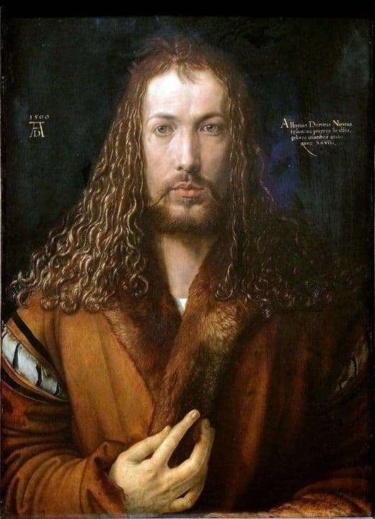Description of the painting by Albrecht Durer Self portrait in the image of Christ