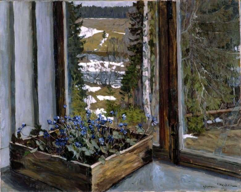 Description of the painting by Stanislav Zhukovsky Snowdrops