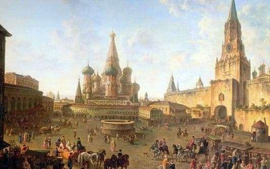 Description of the painting by Fyodor Yakovlevich Alekseev Red Square in Moscow