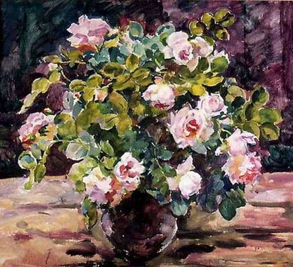 Description of the painting by Eugene Antipova Roses