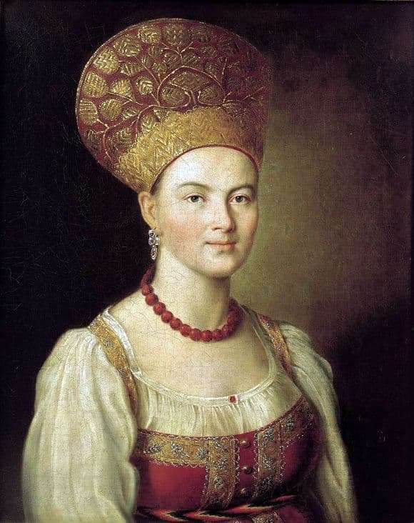 Description of the painting by Ivan Argunov Portrait of an unknown peasant woman in Russian costume