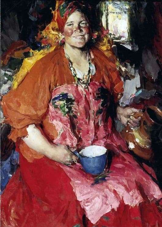 Description of the painting by Abram Arkhipov Girl with a jug