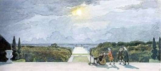 Description of the painting by Alexander Benois Versailles. Walk the King