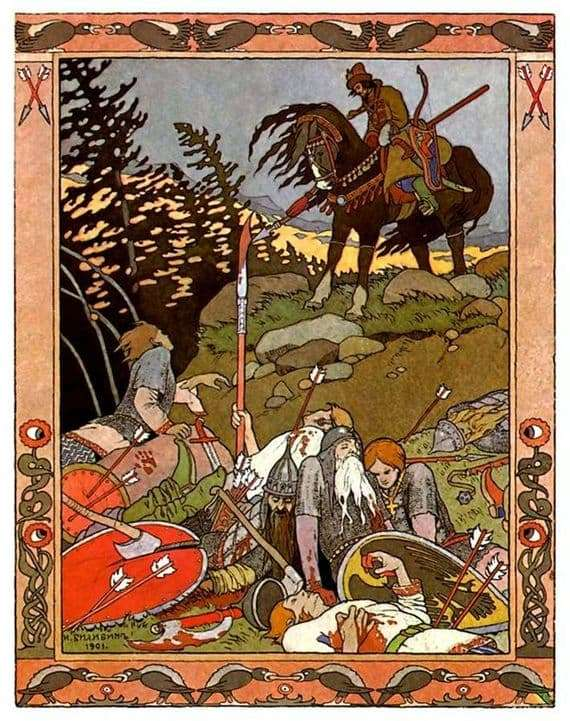 Illustration to the fairy tale Marya Morevna by Ivan Bilibin