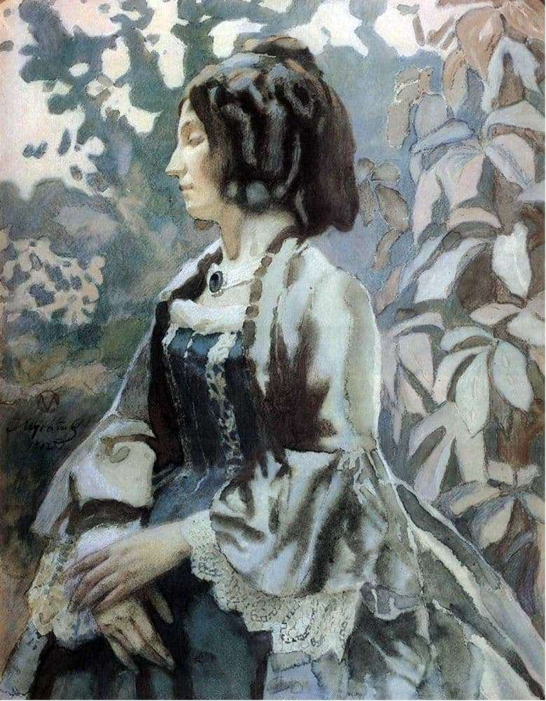 Description of the painting by Victor Elpidiforovich Borisov Musatov Lady in Blue