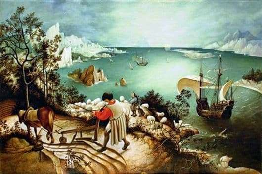 Description of the painting by Peter Bruegel The Fall of Icarus
