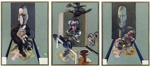 Description of the triptych of Francis Bacon Three Etudes by Lucien Freud