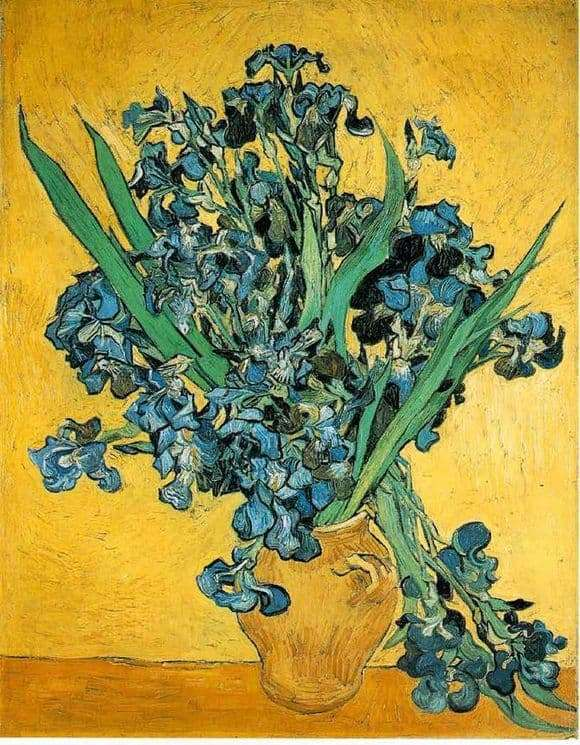 Description of the painting by Vincent van Gogh Still life of a vase with irises on a yellow background