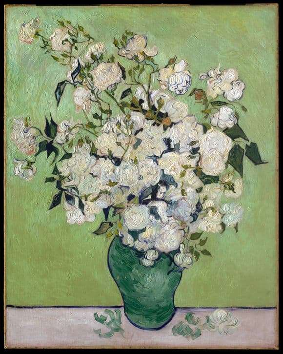 Description of the painting by Vincent Van Gogh White roses