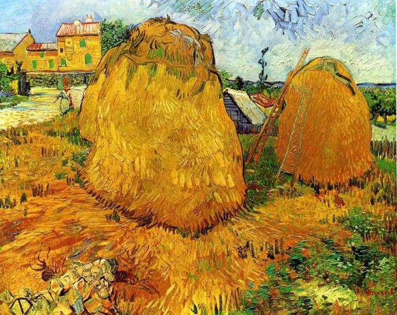 Description of the painting by Vincent van Gogh Haystacks in Provence