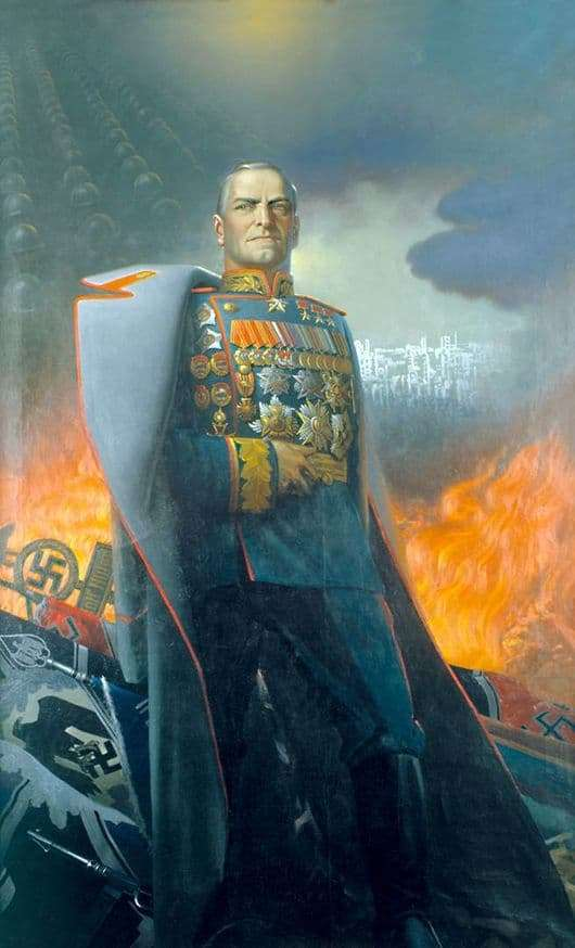 Description of the painting by Konstantin Vasilyev Marshal Zhukov