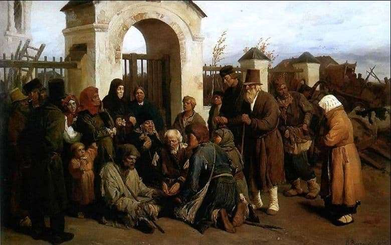 Description of the painting by Victor Vasnetsov Beggars singers