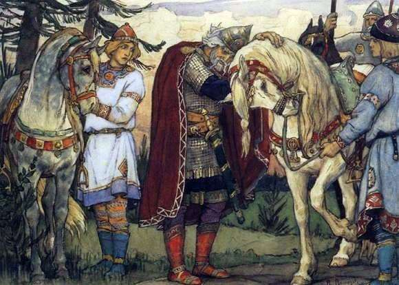 Description of the painting by Viktor Vasnetsov Olegs farewell to the horse