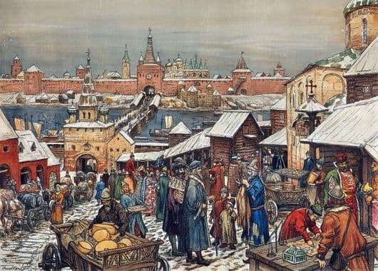 Description of the painting by Viktor Vasnetsov Novgorod bargaining