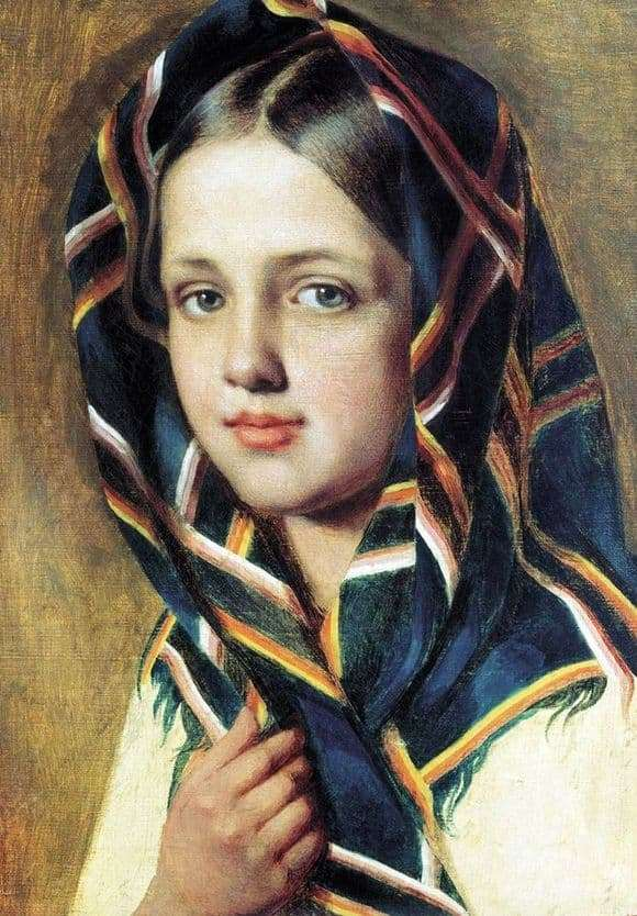 Description of the painting by Alexey Venetsianov Girl in a scarf