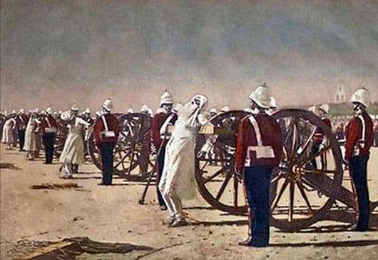 Description of the painting by Vasily Vereshchagin Suppression of the Indian uprising by the British