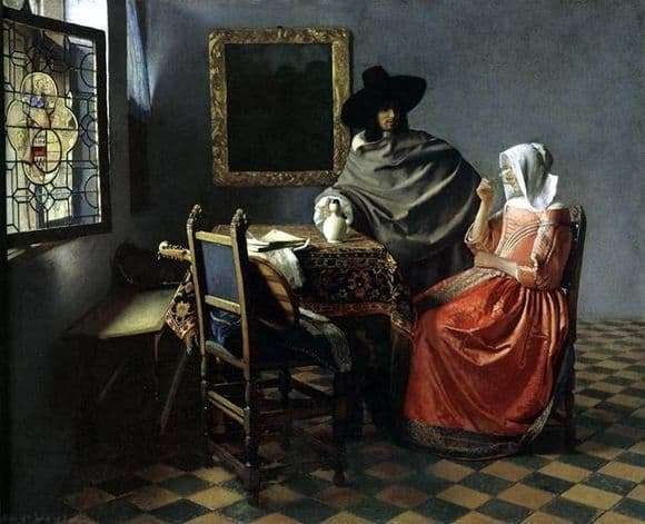 Description of the painting by Jan Vermeer A Glass of Wine