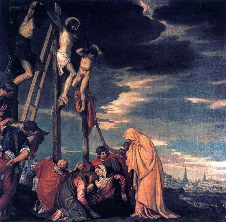 Description of the painting by Paolo Veronese Crucifixion. Calvary
