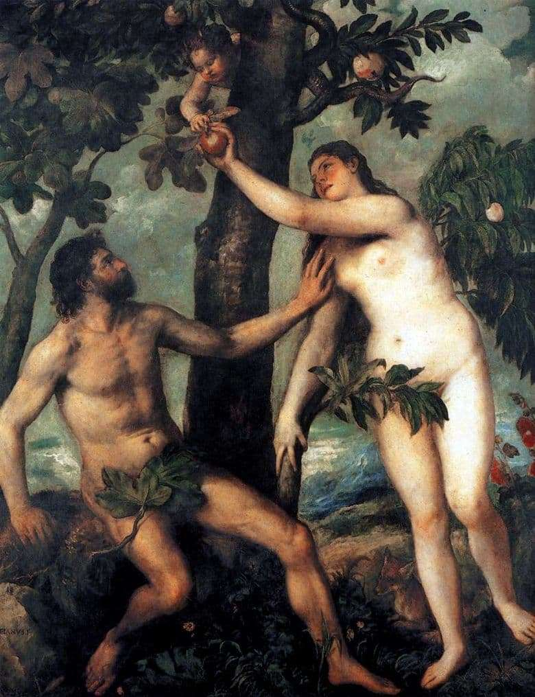 Description of the painting by Titian Adam and Eve