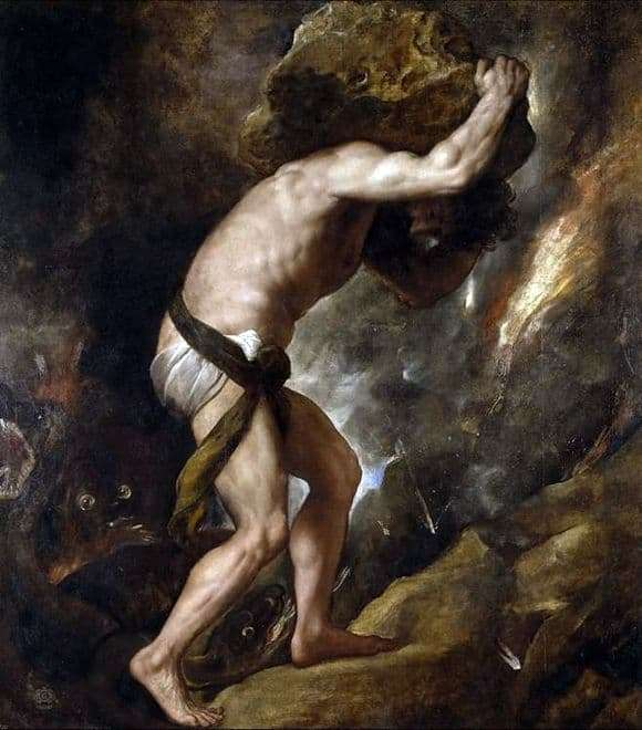 Description of the painting by Titian Sisyphus