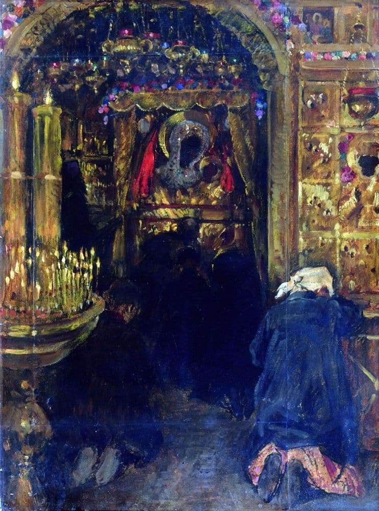 Description of the painting by Sergei Vinogradov In the church