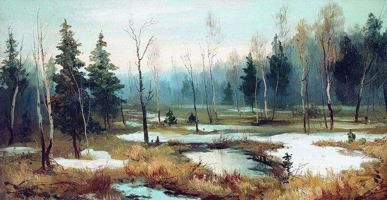 Description of the painting by Efim Volkov At the end of winter
