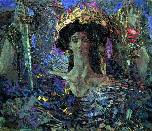 Description of the painting by Mikhail Vrubel Six winged Seraph