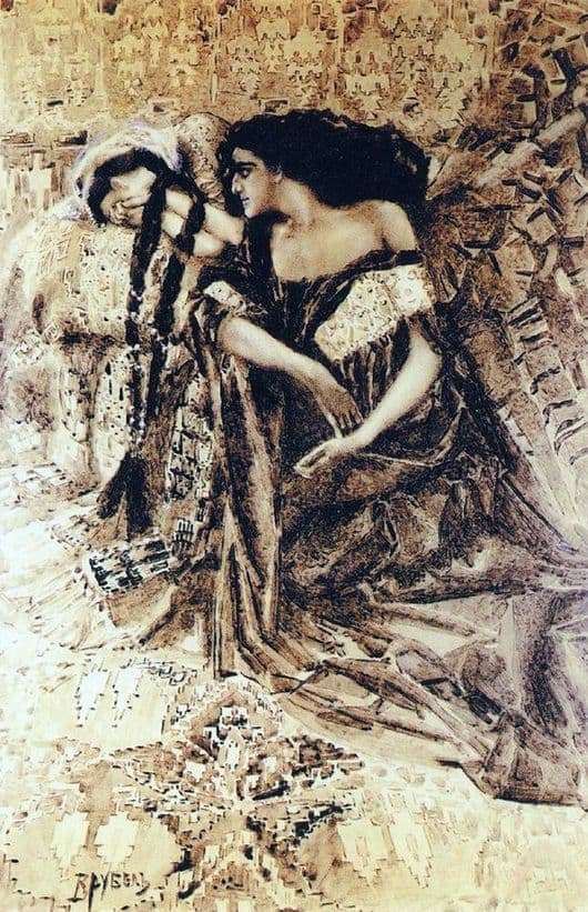 Description of the painting by Mikhail Vrubel Tamara and the Demon