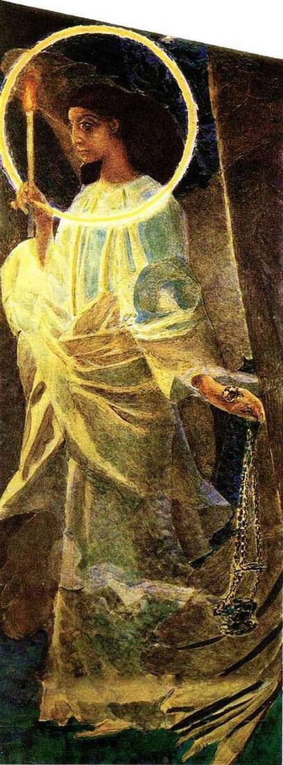 Description of the painting by Mikhail Vrubel Angel with a censer and a candle