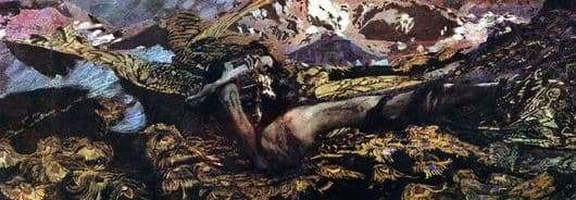 Description of the painting by Mikhail Vrubel Demon Prostrate