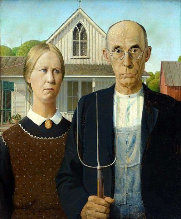 Description of the painting by Grant Wood American Gothic