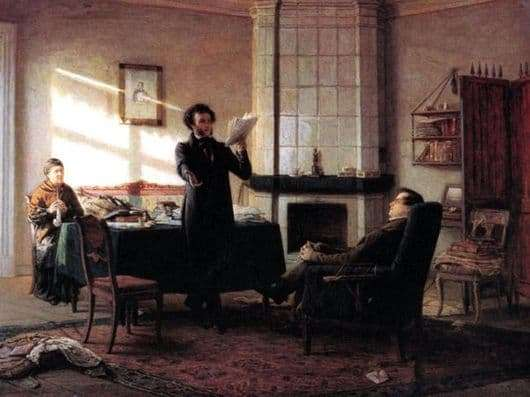 Description of the painting by Nikolai Ge Pushkin in the village of Mikhailovsky