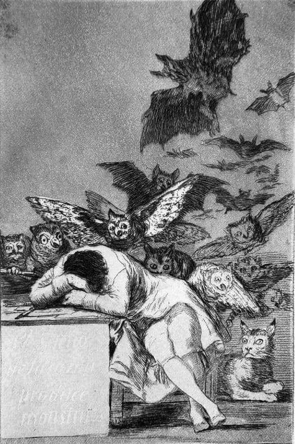 Description of the painting by Francisco de Goya Sleep of Reason Produces Monsters