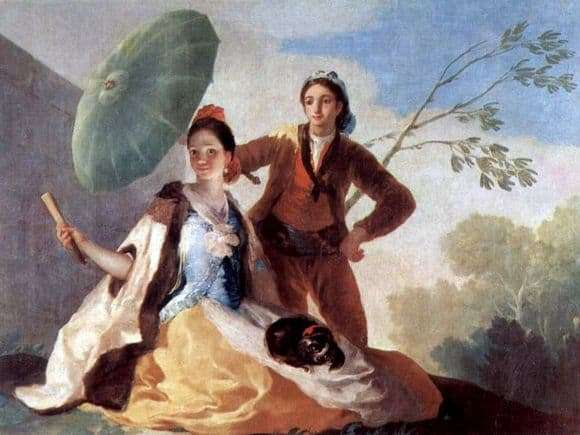 Description of the painting by Francisco de Goya Umbrella