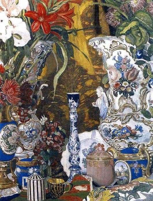 Description of the painting by Alexander Golovin Flowers