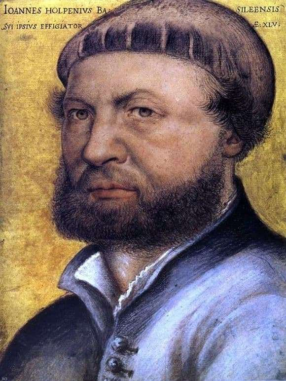 Description of the painting by Hans Holbein Self portrait
