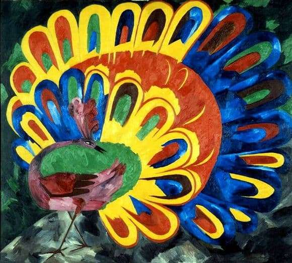 Description paintings by Natalia Goncharova Peacock under the bright sun