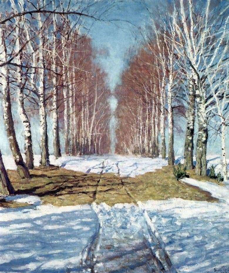 Description of the painting by Igor Grabar Birch Alley