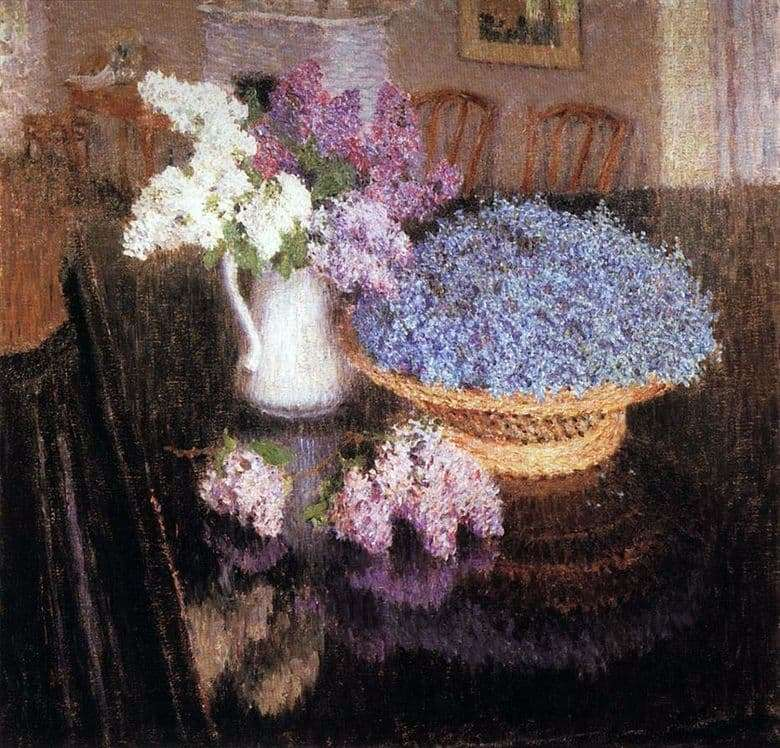 Description of the painting by Igor Grabar Lilac and forget me nots