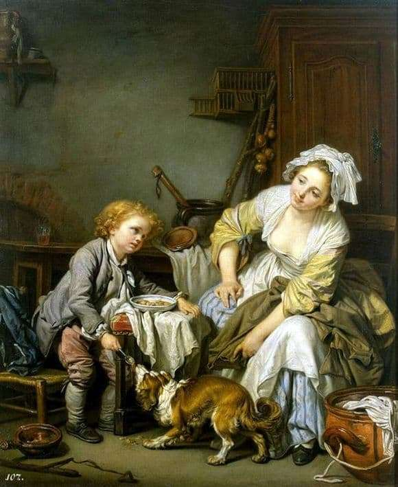 Description of the painting by Jean Baptiste Greza Damned child