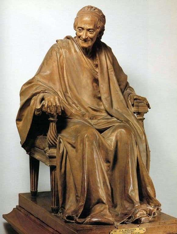 Description of the sculpture of Jean Houdon Voltaire