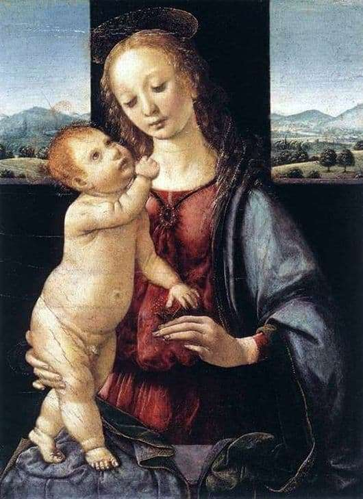 Description of the painting by Leonardo da Vinci Madonna with a Pomegranate