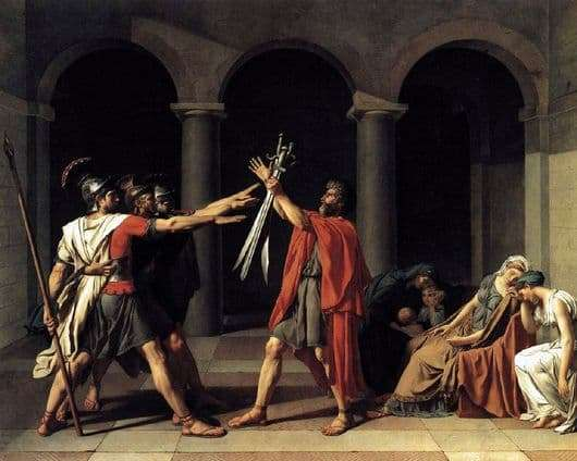 Description of the painting by Jean Louis David The Oath of the Horatii