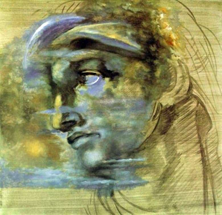 Description of the painting by Salvador Dali The head of Giuliano di Medici Michelangelo