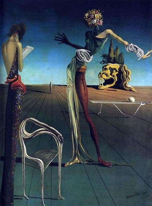 Description of the painting by Salvador Dali Woman with a head of roses