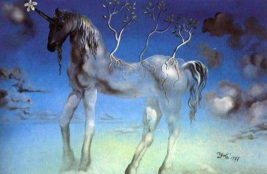Description of the painting by Salvador Dali Unicorn