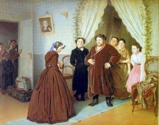 Description of the painting by Vasily Perov Arrival of a governess in a merchants house