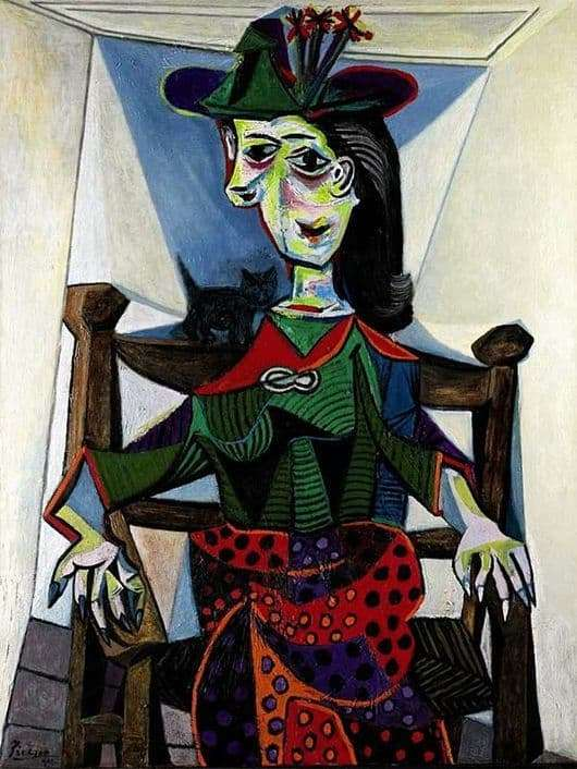 Description of the painting by Pablo Picasso Dora Maar with a cat